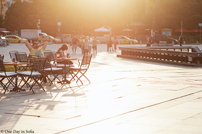 cafe tables at sunset