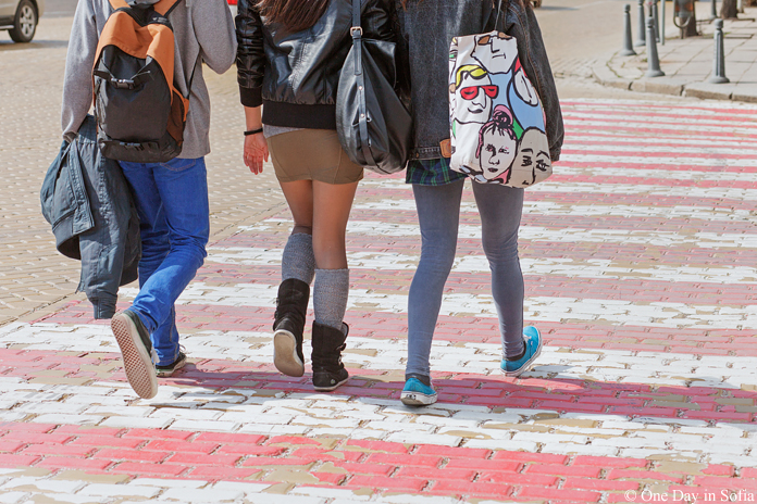 teenagers crossing on Sofia's yellow brick roads