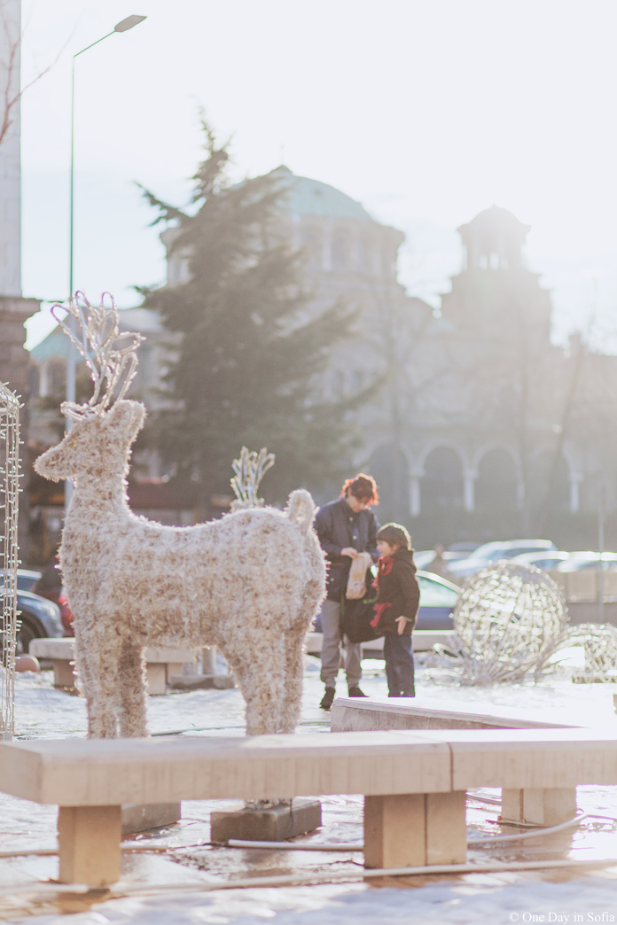 Christmas deer and St. Nedelya Church in background