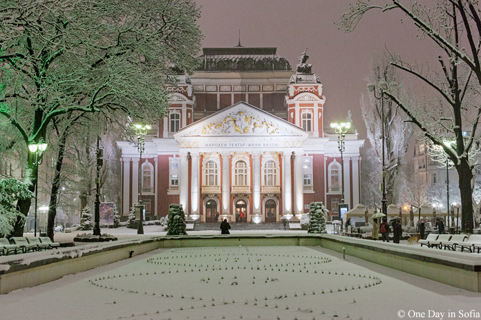 National Theater covered in snow