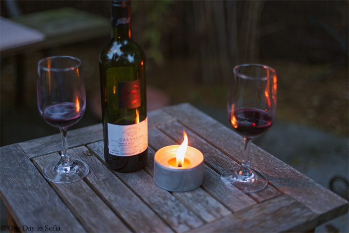wine bottle and candle
