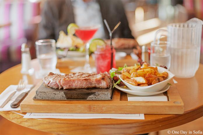 steak on the stone at Raff's on the Corner
