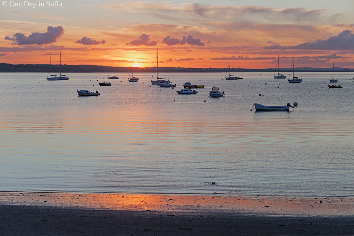 sunset at Skerries harbor