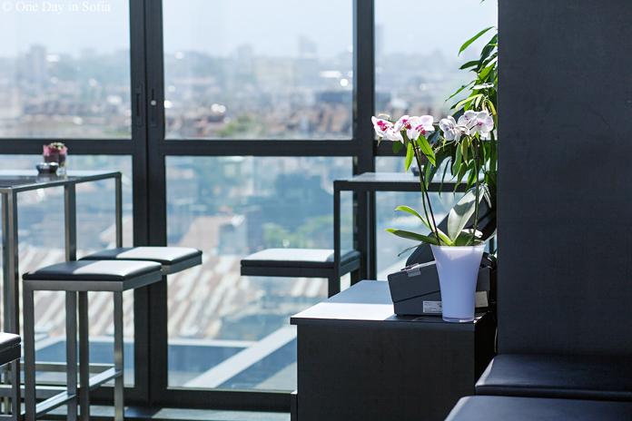 tables at Sense Hotel rooftop bar