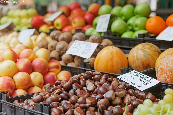autumn fruits at market