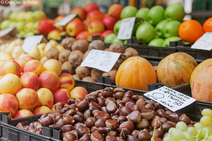 autumn fruits at market