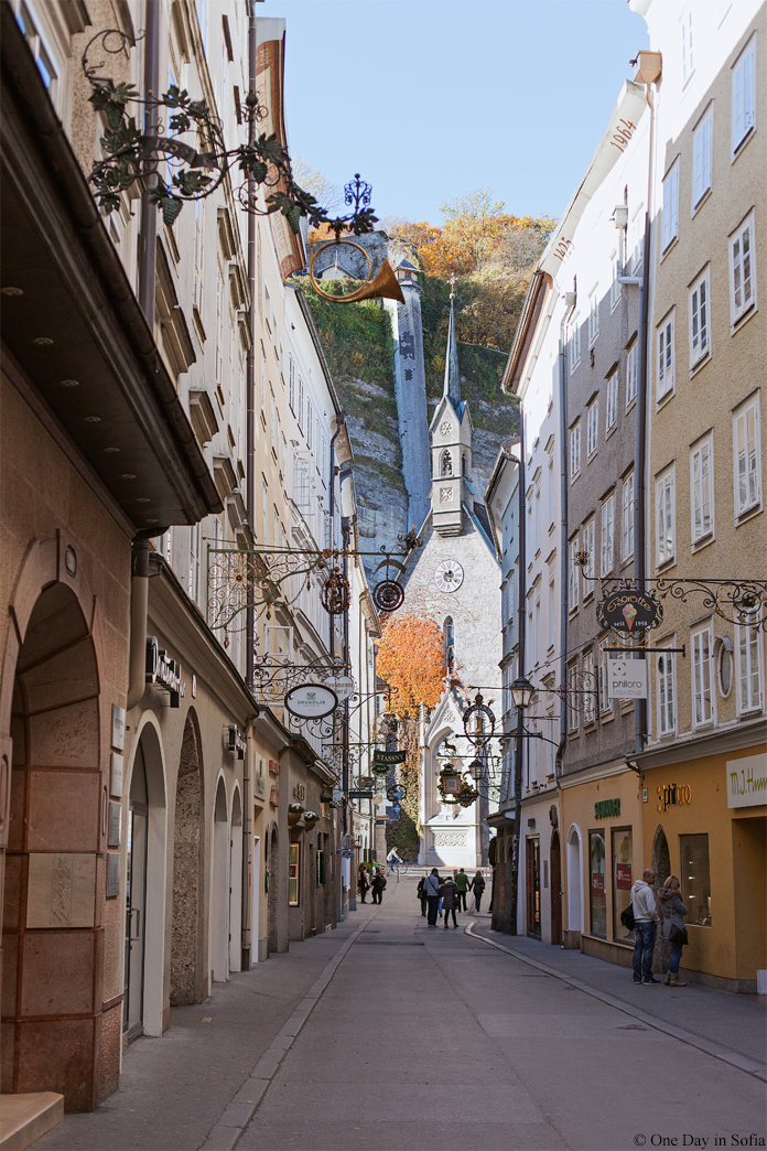 Getreidegasse street in Salzburg
