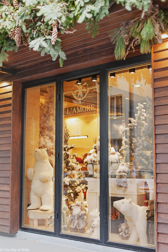 florist Christmas window in Sofia