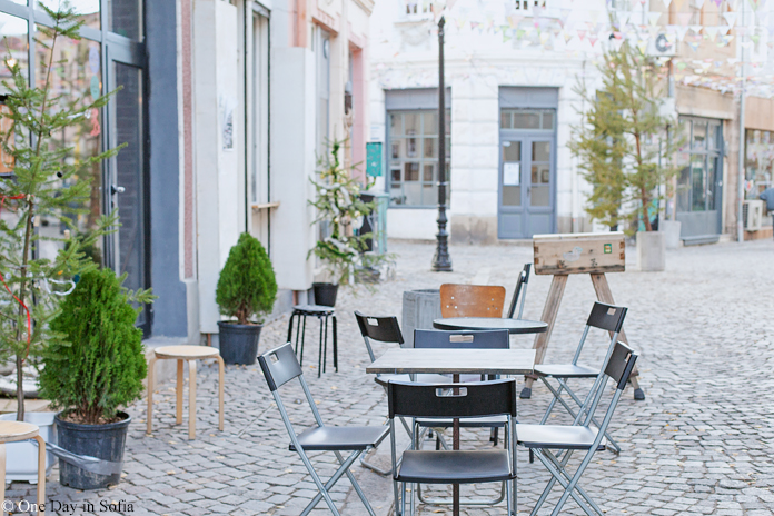 cafe tables in Kapana, Plovdiv