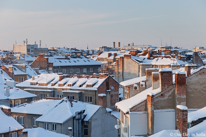 Sofia rooftops covered in snow