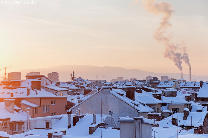 sunset over Sofia's snowy rooftops
