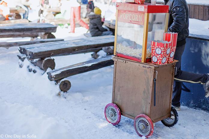 popcorn machine in the snow