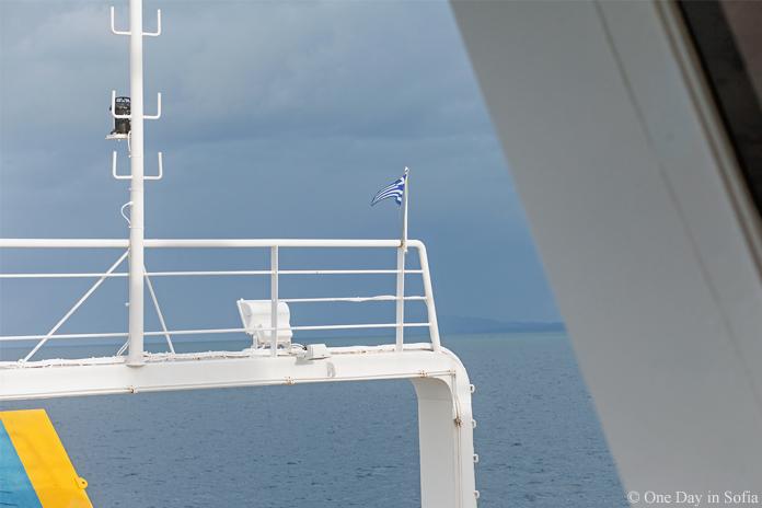 Greek flag on Corfu ferry