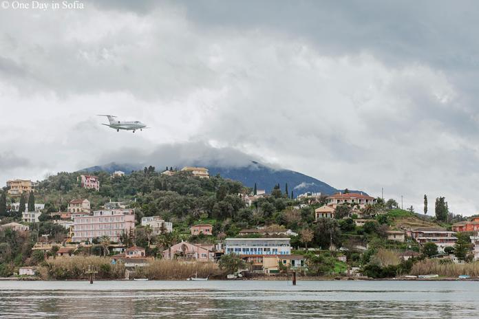 Plane landing on Corfu island