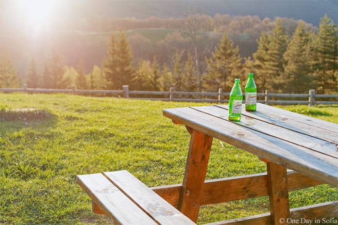 table with beer at sunset