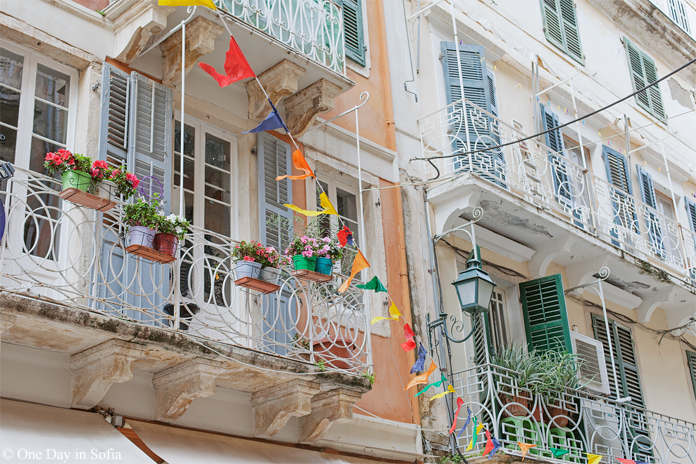 balconies in Corfu town