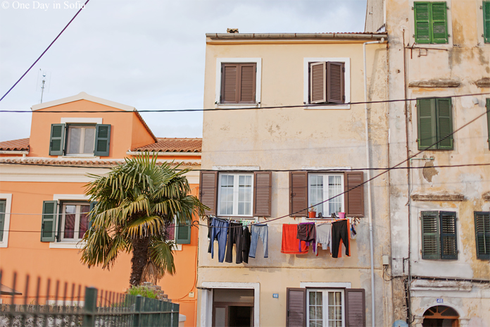 Building with line of clothes on Corfu