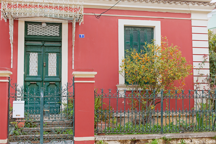 red house on Corfu island