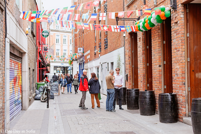 alley with flags in Dublin