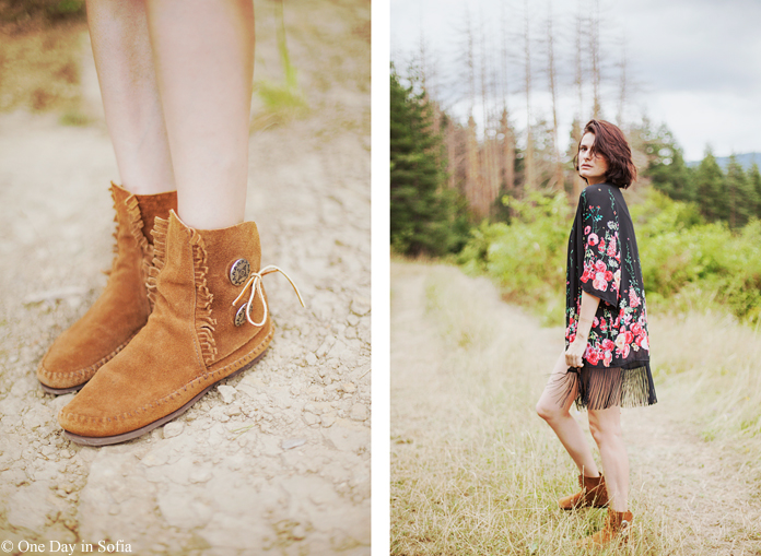 boho ankle boots and floral kimono