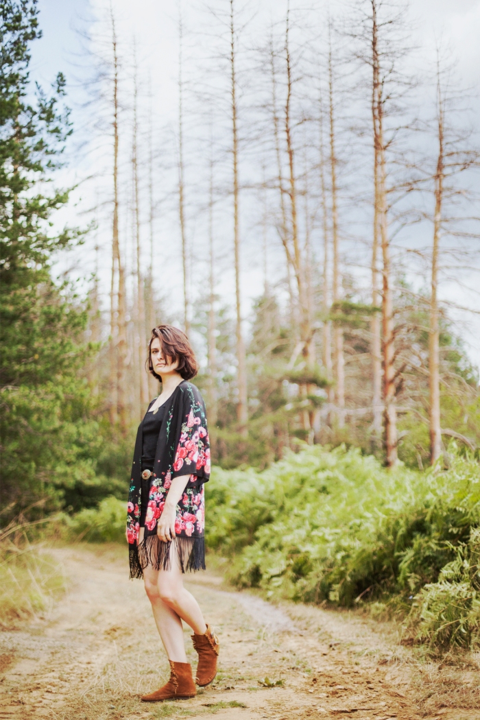 boho floral kimono