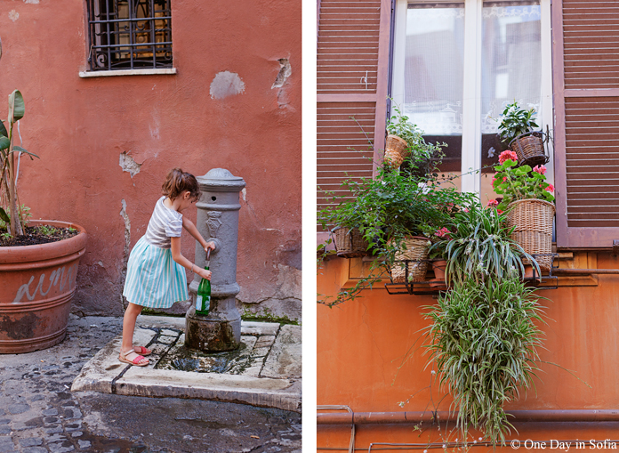 girl at a water fountain, Rome